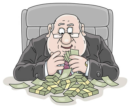 Joyful fat corrupt official sitting at his office desk and counting money received in a bribe, vector cartoon illustration on a white background