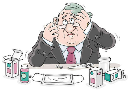 Sad sick man having flu, measuring temperature with a thermometer and taking different pills and other medicines in quarantine, vector cartoon illustration on a white background Ilustração