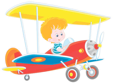 Little boy piloting a colorful toy plane on a playground in a park, vector cartoon illustration on a white background Vecteurs