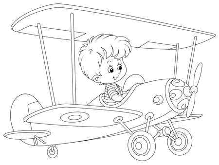 Little boy piloting a big toy plane on a playground in a park, black and white vector cartoon illustration on a white background