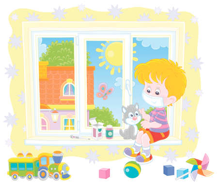 Quarantine at home, a little boy wearing a protective mask, playing with a cute small kitten on a windowsill in a nursery room on a beautiful sunny day, vector cartoon illustration