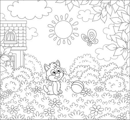 Little kitten playing with a flittering butterfly on a pretty lawn by a small village house on a sunny summer day, black and white vector cartoon illustration for a coloring book page Vettoriali