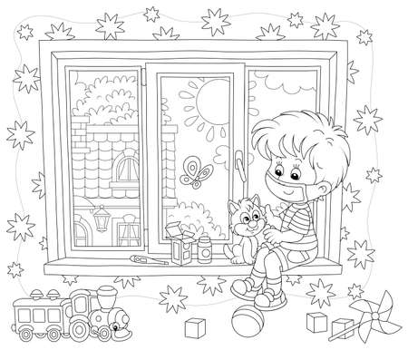 Quarantine at home, a little boy wearing a protective mask, playing with a cute small kitten on a windowsill in a nursery room on a beautiful sunny day, black and white vector cartoon illustration