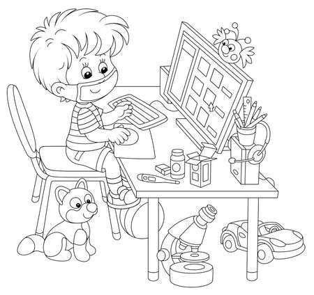Apprentissage à distance en quarantaine à la maison, un petit écolier gai dans un masque assis devant son ordinateur et étudiant du matériel pédagogique sur un site scolaire pendant l'épidémie de grippe, illustration vectorielle