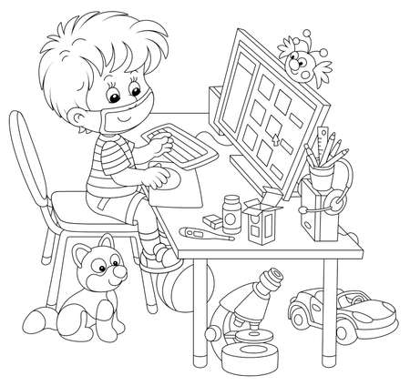 Distance learning in quarantine at home, a small cheerful schoolboy in a mask sitting at his computer and studying educational materials on a school site during flu epidemic, vector illustration