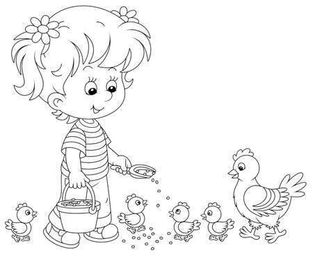 Little girl farmer standing with a bucket of feed grain and feeding a merry brood of small chicks and a cute hen on a chicken farm, black and white vector cartoon illustration for a coloring book page 向量圖像