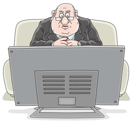 Angry TV viewer with a displeased face sitting on his sofa in front of a television set and watching a news program, vector cartoon illustration on a white background Illustration