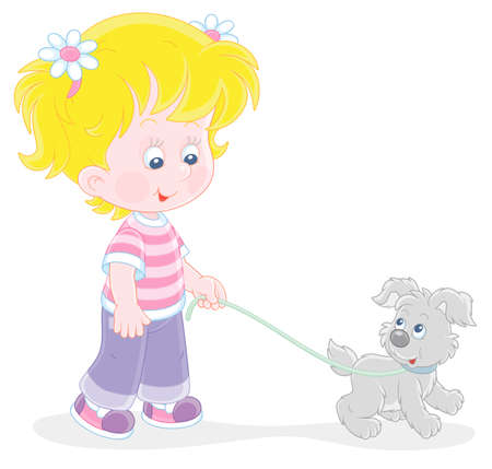 Cheerful little girl walking together with her merry grey puppy, vector cartoon illustration on a white background Vector Illustration