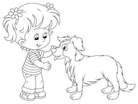 Cheerful little girl walking and playing with a small border collie, black and white vector cartoon illustration on a white background