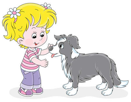 Cheerful little girl walking and playing with a small border collie, vector cartoon illustration on a white background