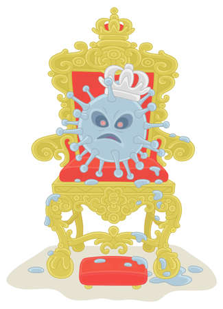 Malicious and contagious virus with a king crown on a throne of a sovereign ruler, vector cartoon illustration on a white background Illustration