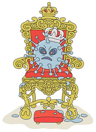 Malicious and contagious virus with a king crown on a throne of a sovereign ruler, vector cartoon illustration on a white background Vettoriali
