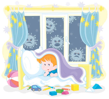 Scared little boy hiding from malicious viruses under a blanket in his bed in a nursery room, vector cartoon illustration on a white background
