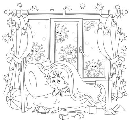 Scared little boy hiding from malicious viruses under a blanket in his bed in a nursery room, black and white outlined vector cartoon illustration for a coloring book page