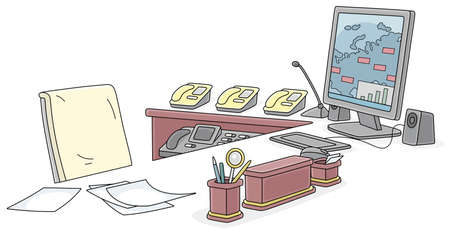 Office of a government official, a desk with a computer monitor and telephones of special communication, vector cartoon illustration on a white background