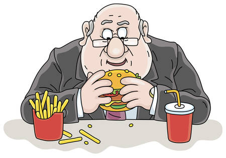 Dinner break, a chubby man in a business suit and glasses at table with a big appetizing hamburger, French fries and juice at working lunch in a coffee house, vector cartoon illustration