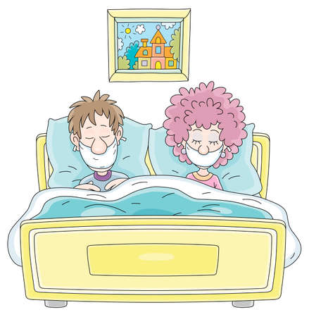 Young married couple in protective medical flu masks sleeping in their bed in infection quarantine at home, vector cartoon illustration on a white background