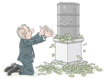 Businessman praying for higher prices of oil, kneeling and embracing a barrel of gasoline, vector cartoon illustration on a white background