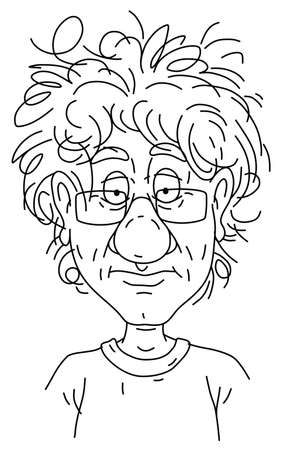 Sad and unkempt man with a boring face in glasses a month later in quarantine at home during virus pandemic, outlined black and white vector cartoon illustration on a white background