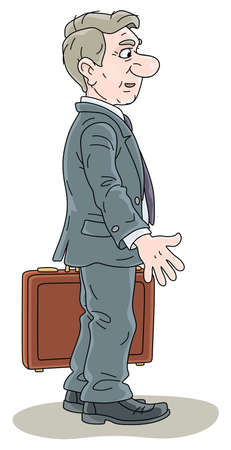 Businessman in gray suit, smiling, holding a case and standing in profile, vector cartoon illustration on a white background