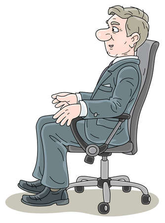 Successful businessman in gray suit, sitting in an office chair in profile, talking and slightly smiling, looking forward, vector cartoon illustration on a white background