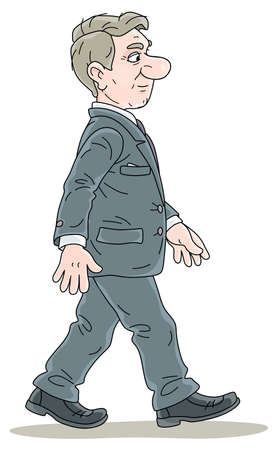 Successful businessman in gray suit, in profile, slightly smiling and going forward, vector cartoon illustration on a white background Ilustração