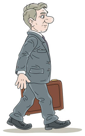 Successful businessman in gray suit, in profile, slightly smiling, holding a case and going forward, vector cartoon illustration on a white background