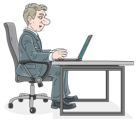 Successful businessman in gray suit, sitting in an office chair at his desk, in profile, working with a laptop, talking and slightly smiling, vector cartoon illustration on a white background
