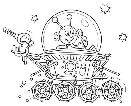 Funny small alien friendly smiling and piloting a lunar rover somewhere beyond the planet Earth, vector cartoon illustration on a white background