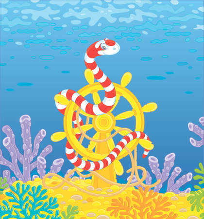 Striped red and white snake twisted around an old ship helm among corals of a colorful reef in a tropical sea, vector cartoon illustration
