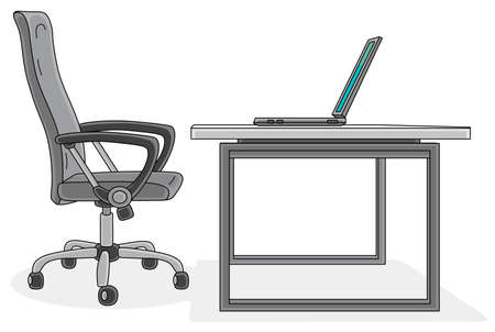 Office easy chair and a stylish designed desk with an open laptop, vector cartoon illustration on a white background Illustration
