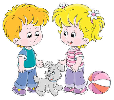 Smiling little children talking and walking together with a cheerful grey puppy, vector cartoon illustration on a white background Ilustración de vector