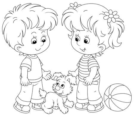 Smiling little children talking and walking together with a cheerful grey puppy, black and white outlined vector cartoon illustration for a coloring book page