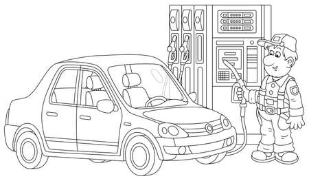 Car at a gas station with a refueling worker holding a fuel nozzle near a dispenser, black and white outline vector cartoon illustration for a coloring book page