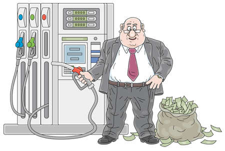 Gas station, a fat greedy businessman with a fuel nozzle and a big bag full of money, vector cartoon illustration isolated on a white background  イラスト・ベクター素材