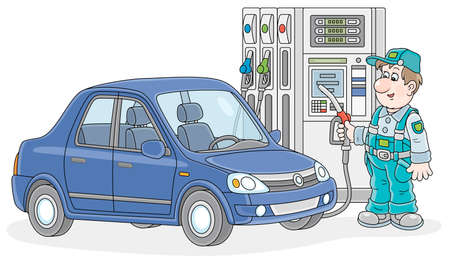 Car at a gas station with a refueling worker holding a fuel nozzle near a dispenser, vector cartoon illustration isolated on a white background Illustration