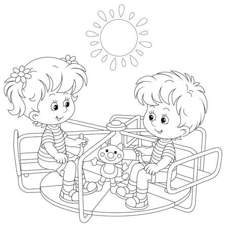 Cheerful small children playing with toys and swinging on a swing on a summer playground in a park, black and white outlined vector cartoon illustration for a coloring book page