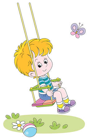 Cheerful small boy swinging with a merry flittering butterfly on a summer playground in a park, vector cartoon illustration on a white background