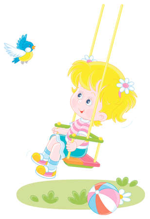 Cheerful small girl swinging and playing with a funny birdie on a summer playground in a park, vector cartoon illustration on a white background Illustration