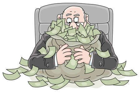 Joyful fat corrupt official sitting at his office desk and hugging a big bag full of money, vector cartoon illustration on a white background
