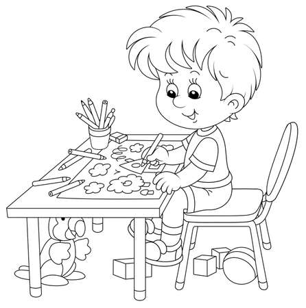 Smiling little boy sitting at his table and drawing with pencils a funny picture of a small village house and an apple tree on a sunny summer day, black and white vector cartoon illustration Vector Illustration