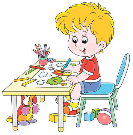 Smiling little boy sitting at his table and drawing with color pencils a funny picture of a small village house and an apple tree on a sunny summer day, vector cartoon illustration