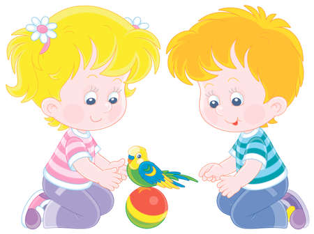 Cheerful little children playing with a funny small parrot with a colorful plumage and a long tail, vector cartoon illustration on a white background Ilustração