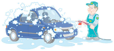 Car wash, a funny worker in uniform washing an automobile with auto shampoo and pressured water on a service station, vector cartoon illustration on a white background
