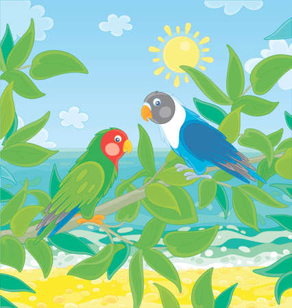Amusing colorful parrots with brightly colored plumage, perched on a green tree branch in a tropical jungle on a blue sea background on a sunny summer day, vector cartoon illustration Çizim