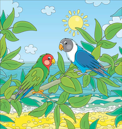 Amusing colorful parrots with brightly colored plumage, perched on a green tree branch in a tropical jungle on a blue sea background on a sunny summer day, vector cartoon illustration