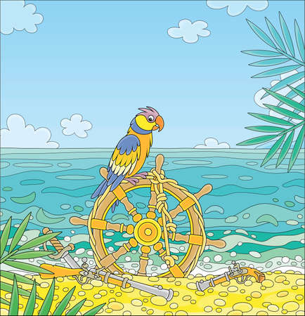 Colorful pirate parrot perched on an old ship helm with a rope, a gun, a pistol and a saber of filibusters on a sandy beach of a desert island in a tropical sea on a sunny summer day, vector cartoon