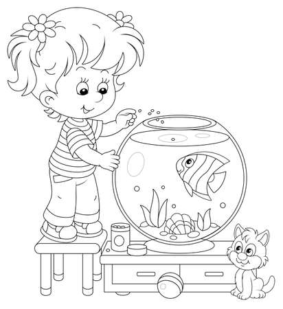 Friendly smiling cheerful small girl with her cute kitten feeding a funny striped aquarium butterfly fish in a nursery room at home, black and white vector cartoon illustration for a coloring book