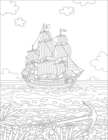 Old sailing ship with guns going under full sail in front of a tropical island with an abandoned anchor on a sand deserted beach with palm branches on a summer day, vector cartoon illustration