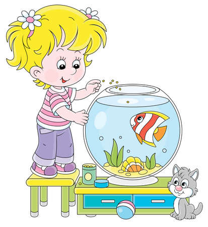 Friendly smiling cheerful small girl with her cute grey kitten feeding a funny striped aquarium butterfly fish in a nursery room at home, vector cartoon illustration on a white background